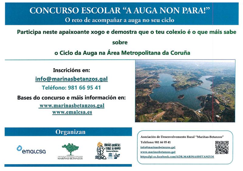 Emalcsa y Reserva de la Biosfera 'Mariñas Coruñesas' organizan un concurso para divulgar el ciclo del agua entre los niños y niñas de 5º e 6º de Primaria